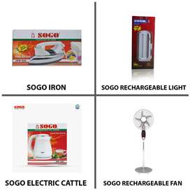 SOGO Rechargeable Fans , Irons , Cattle and Lights Available