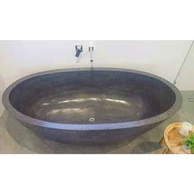 Bathtub batu alam oval unik
