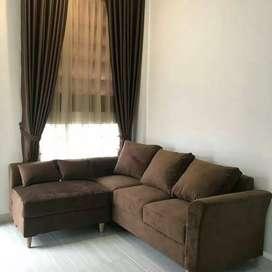 Sofa L minimalis choco brown