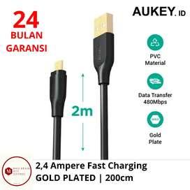[GARANSI 24 BULAN] 2m AUKEY Kabel Cas Data GOLD PLATE Micro USB 2,4A