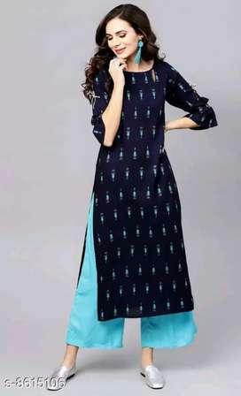 *Women Rayon Straight Printed Long Kurti With Palazzos