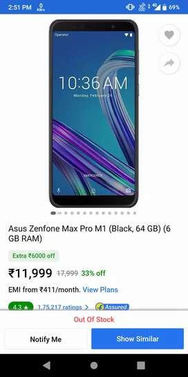 Asus zenfone max pro m1 6gb ram and 64 gb rom