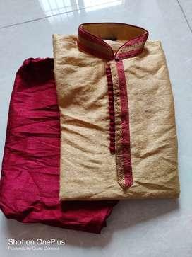 Gold and maroon colour kurta set