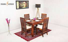 Dining Set Four Seater New Real Sheesham Solid Wood Chowkdi Chair Six