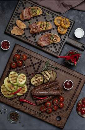 Wooden trays and cheese board