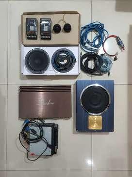 Satu set Audio 2 way Flux 260 , sony xav741, lmaudio 4ch, soundstream