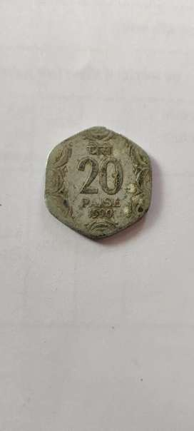 This is rare currency 20 paise since 1990
