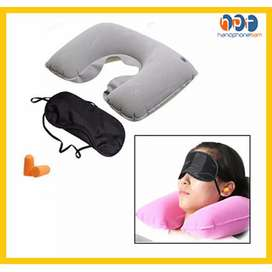 travel pillow set (bantal+tutup mata+tutup kuping) Setiap set Inflatab