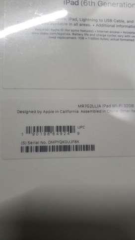 Apple ipad 6 th gen silver 32 gb,