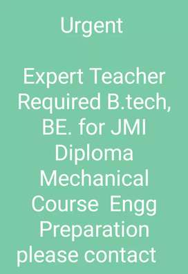 Expert Teacher Required for Diploma Mechanichal Engg