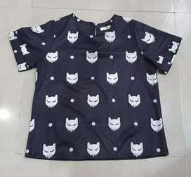 Black Cat Top satin