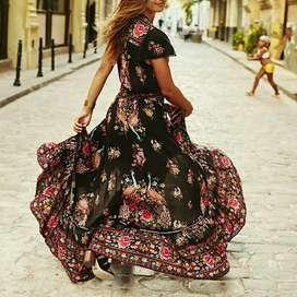 Long Dress Maxi Wanita Model Vintage Boho Motif Print Bunga Baju Murah