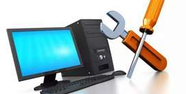 Pc or  laptop repair service 200 Rs.OS installation  with Ms office