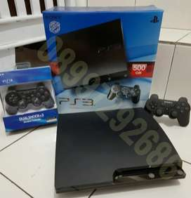 PS3 Slim 500GB LENGKAP (2 Stik Full 100 game)