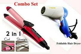 New combo set - 2in 1 straighner & hair dryer