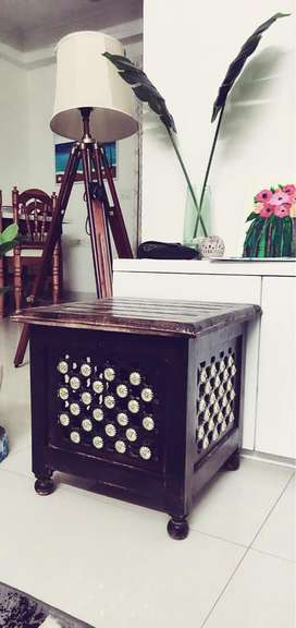 Wooden table with storage box
