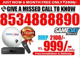SD & HD Tata Sky DTH Tatasky Airtel Dishtv 6 Month Free Only @1999