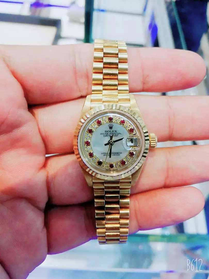 Original ladies Rolex full gold 18k daimand dail+Ruby watche available 0