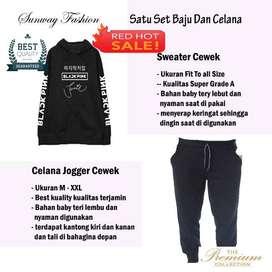 AM00403 Celana Setelan Satu set Sweater cewek dan celana joger