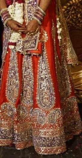 Wedding lehenga in raw silk