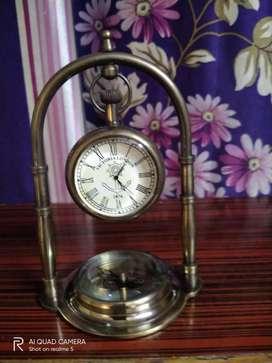 brass desk clock base compass