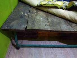 2 wooden Takhat with iron frame and legs.
