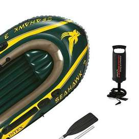 Seahawk 3 Person Inflatable Boat Set with Aluminum Oars & Pump