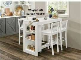 Meja makan minimalis mewah & modern, K. 4, bahan kayu jati tua asli
