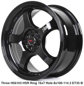 terbaru THREE 56103 HSR R16X7 H8X100-114,3 ET35 BLACK