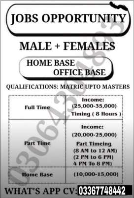 Male/female staff required in company Office work  Online work