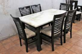 Brand New Marble Top Dining Table 6 Seater Chairs Saag Wood