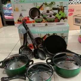 Panci Penggorengan Set cookware 11 pcs- soup pot, souce pan, fry pan,