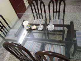 Wood Dinng table with 6 chairs