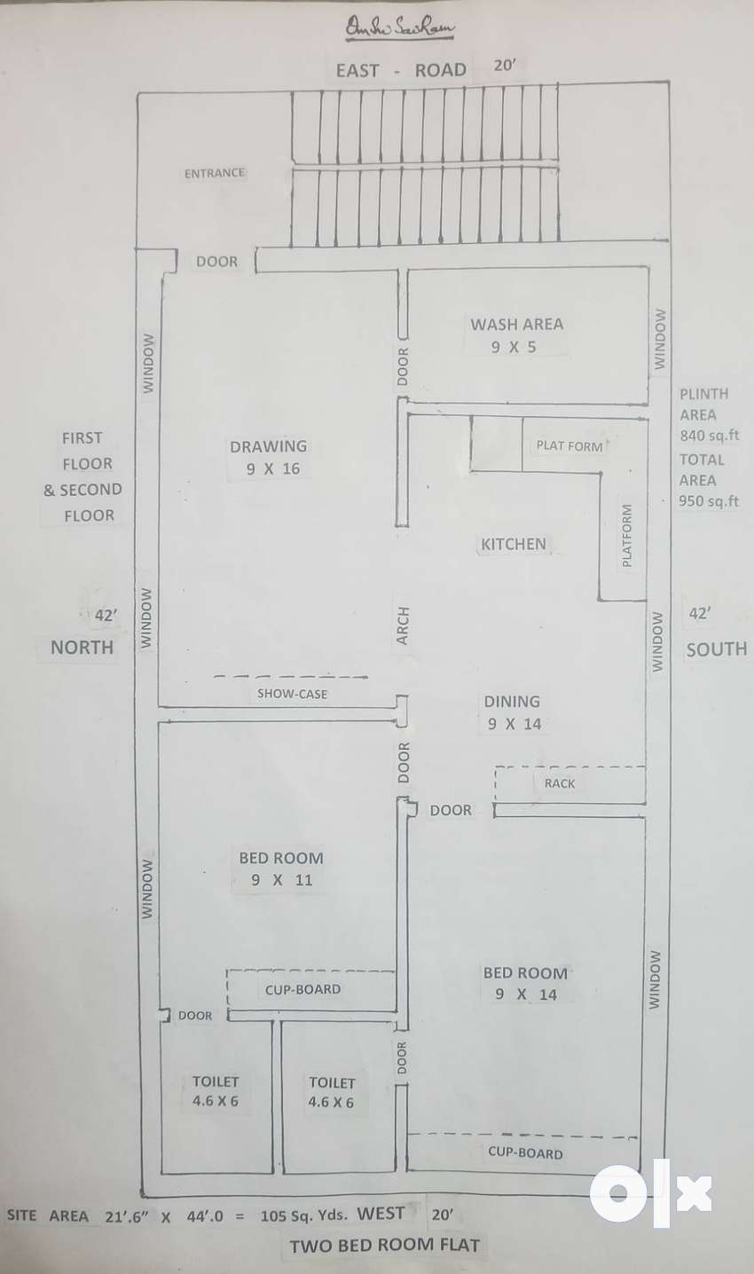 Independent House in 105.11 sq. yds and 840 sq. ft Floor Area 0