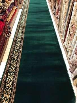 karpet masjid import tebal hijau polos bunga bisa pasang ditempat