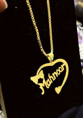 Gold plated name chain locket
