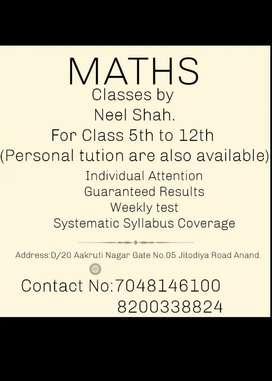 Maths Tution teacher for class 5th to 12