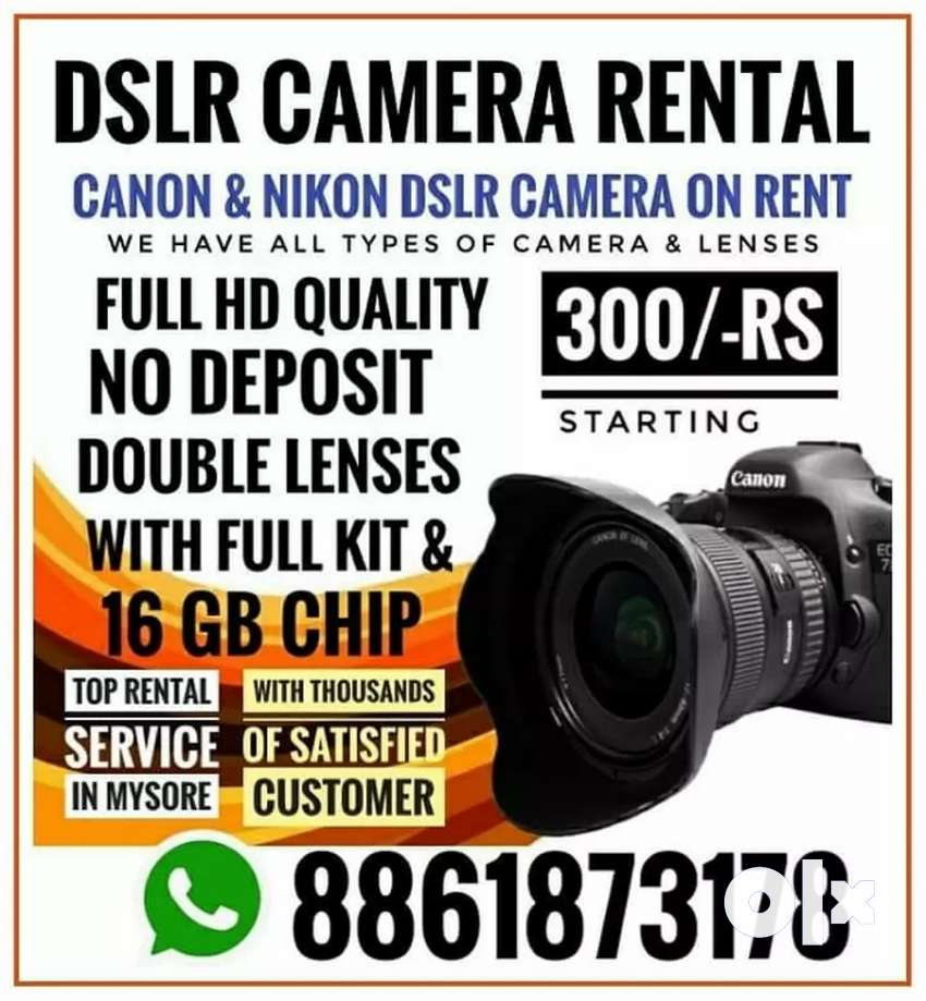 Canon DSLR 700D & 1300D  offer with Lens Camera Rent Starts for 300/- 0
