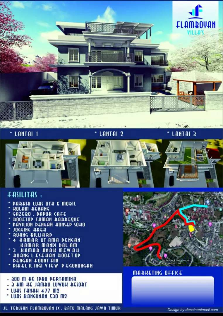 Villa mewah 3 lantai di Flamboyan Kota Batu 0