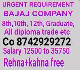 URGENT HIRING FOR BAJAJ COMPANY