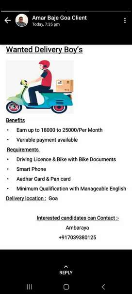 Delivery  boy bikers for Goa
