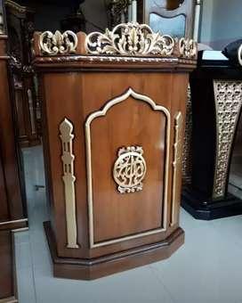 Mimbar Masjid ukiran kayu jati berkualitas @MRJ h278