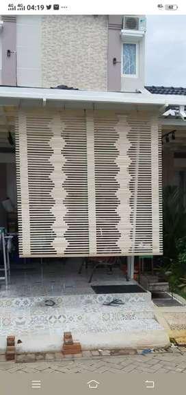 Tirai bambu dan rotan dan kayu dan usi