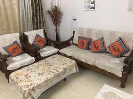 Teak wood heavy 5 seater sofa