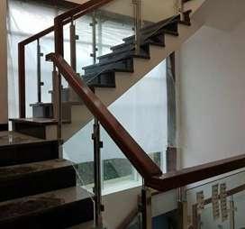 Railing tangga kaca dan balkon stainless #4973