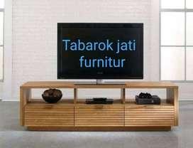 Meja tv minimalis moderen laci 3, bahan kayu jati asli 100%