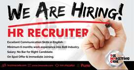 HR Recruiter with experience of 1-3yrs