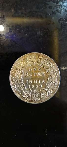 1889 One rupee silver coin
