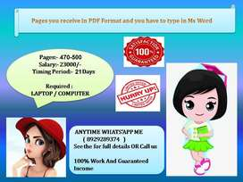 Wanted DATA ENTRY operator for home based job offline based working