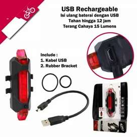 Lampu Sepeda Belakang USB LED Waterproof Recharger